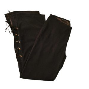 1970'S STYLE LACE UP BLACK BELL BOTTOM PANTS